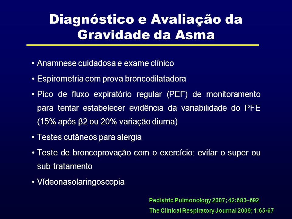 Diagnóstico e Avaliação da Gravidade da Asma