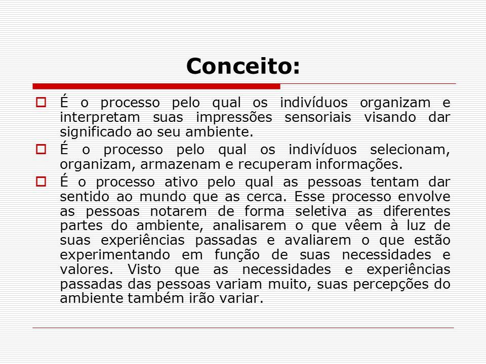 Conceito: É o processo pelo qual os indivíduos organizam e interpretam suas impressões sensoriais visando dar significado ao seu ambiente.