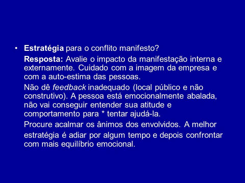 Estratégia para o conflito manifesto