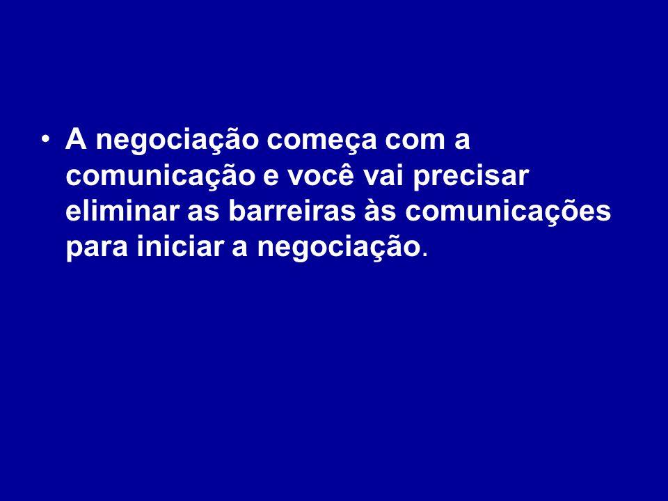 A negociação começa com a comunicação e você vai precisar eliminar as barreiras às comunicações para iniciar a negociação.