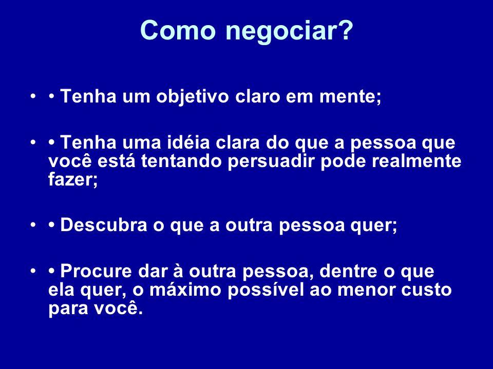 Como negociar • Tenha um objetivo claro em mente;