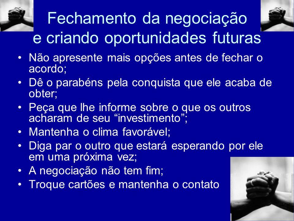 Fechamento da negociação e criando oportunidades futuras