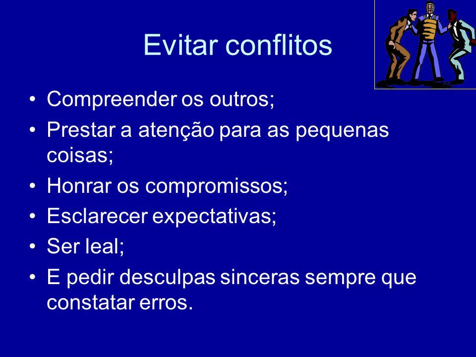 Evitar conflitos Compreender os outros;