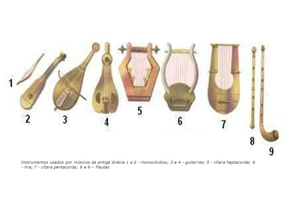 Instrumentos usados por músicos da antiga Grécia 1 e 2 - monocórdios; 3 e 4 - guitarras; 5 - cítara heptacorda; 6