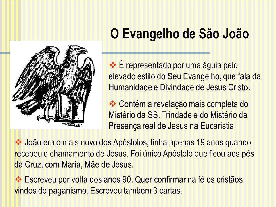 O Evangelho de São João É representado por uma águia pelo elevado estilo do Seu Evangelho, que fala da Humanidade e Divindade de Jesus Cristo.