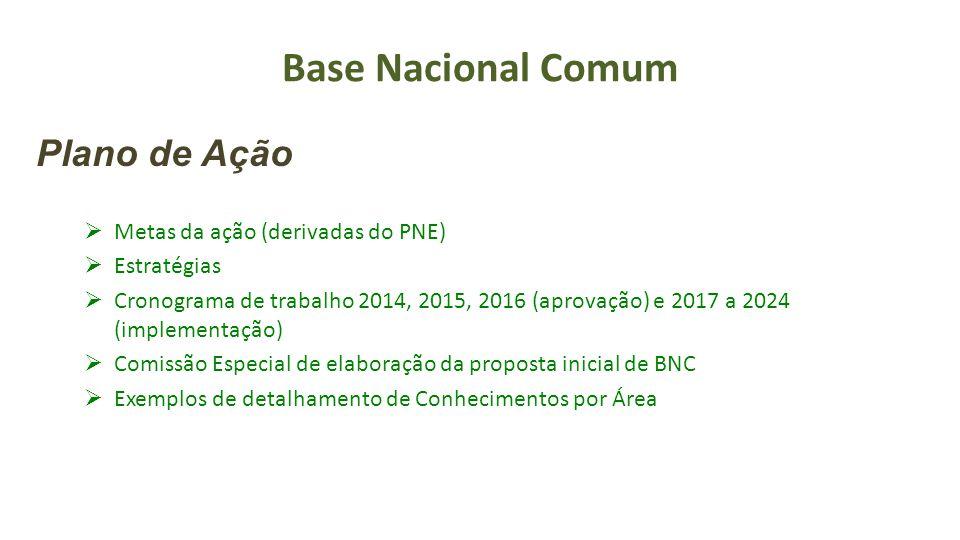 Base Nacional Comum Plano de Ação Metas da ação (derivadas do PNE)