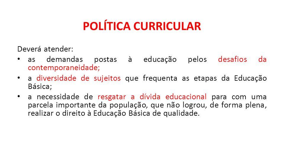 POLÍTICA CURRICULAR Deverá atender:
