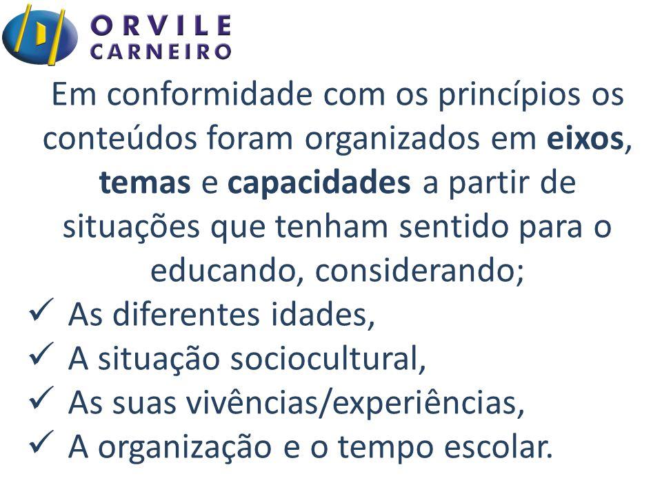 Em conformidade com os princípios os conteúdos foram organizados em eixos, temas e capacidades a partir de situações que tenham sentido para o educando, considerando;