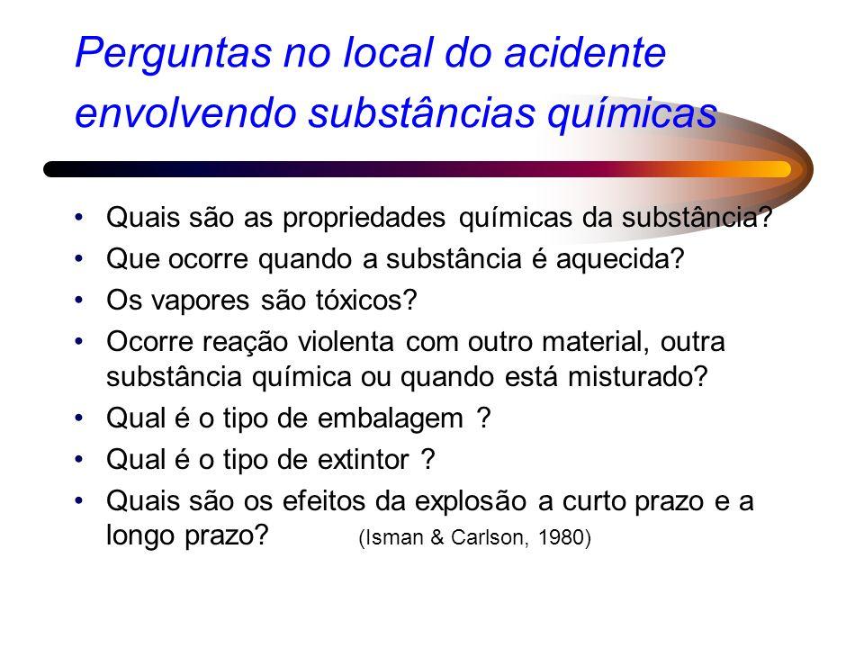 Perguntas no local do acidente envolvendo substâncias químicas