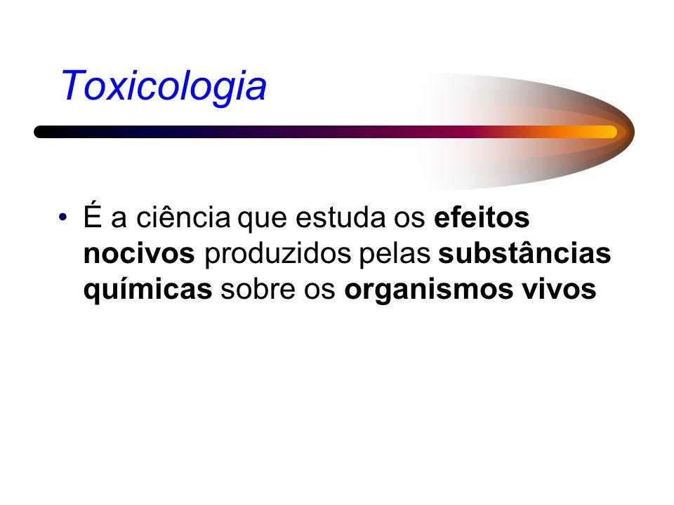Toxicologia É a ciência que estuda os efeitos nocivos produzidos pelas substâncias químicas sobre os organismos vivos.