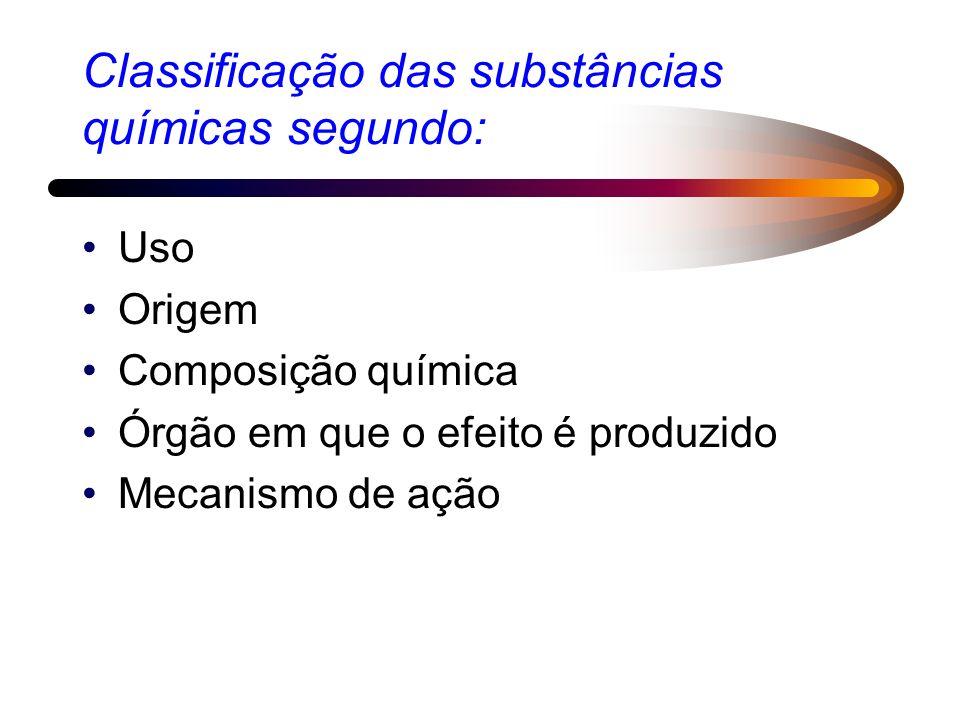 Classificação das substâncias químicas segundo: