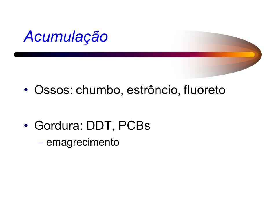 Acumulação Ossos: chumbo, estrôncio, fluoreto Gordura: DDT, PCBs