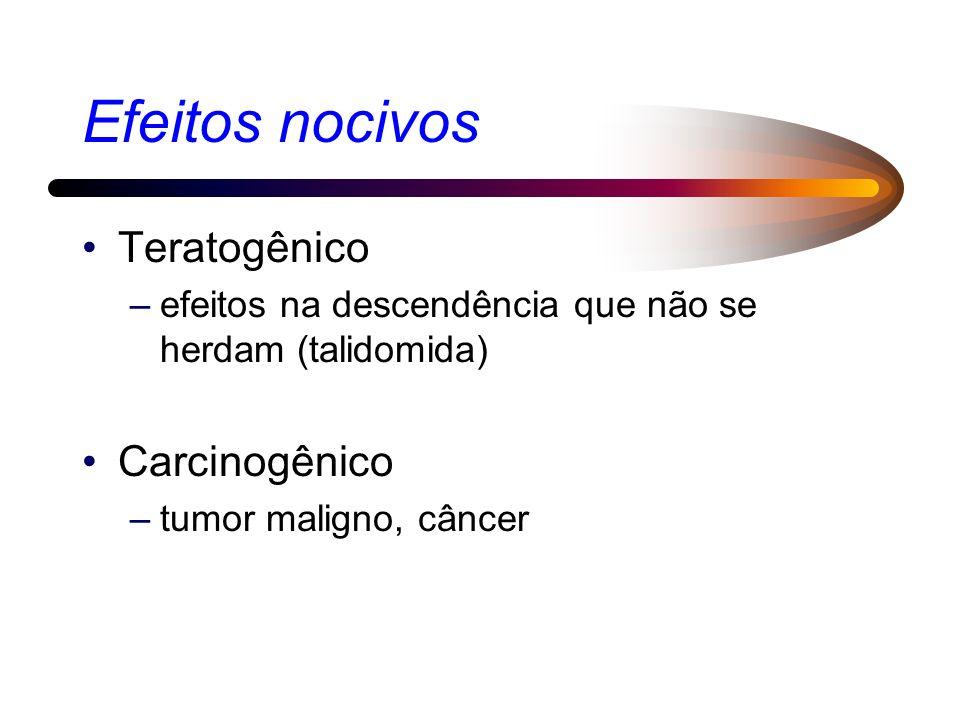 Efeitos nocivos Teratogênico Carcinogênico