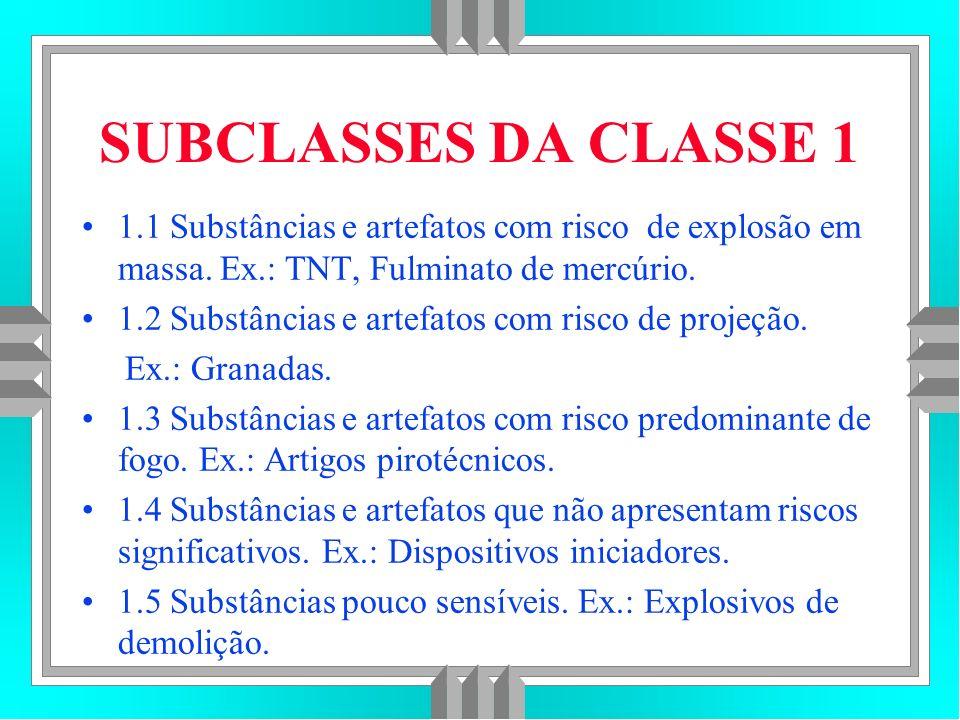 SUBCLASSES DA CLASSE 1 1.1 Substâncias e artefatos com risco de explosão em massa. Ex.: TNT, Fulminato de mercúrio.