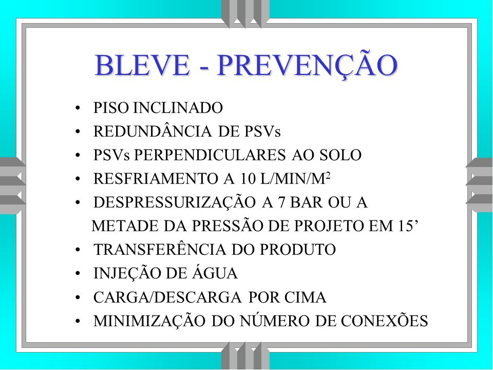 BLEVE - PREVENÇÃO PISO INCLINADO REDUNDÂNCIA DE PSVs