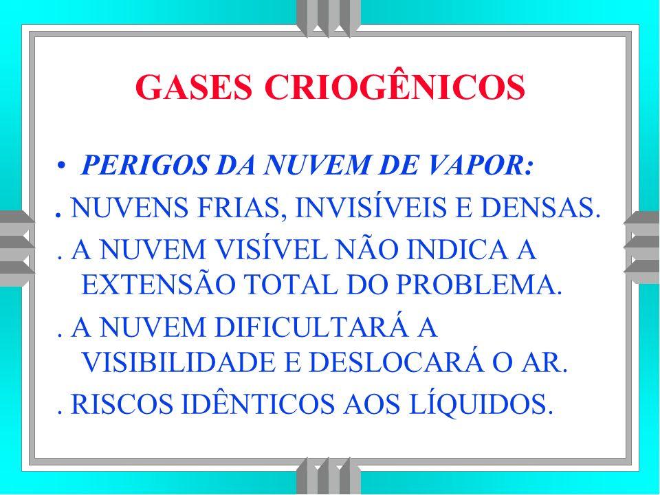 GASES CRIOGÊNICOS PERIGOS DA NUVEM DE VAPOR: