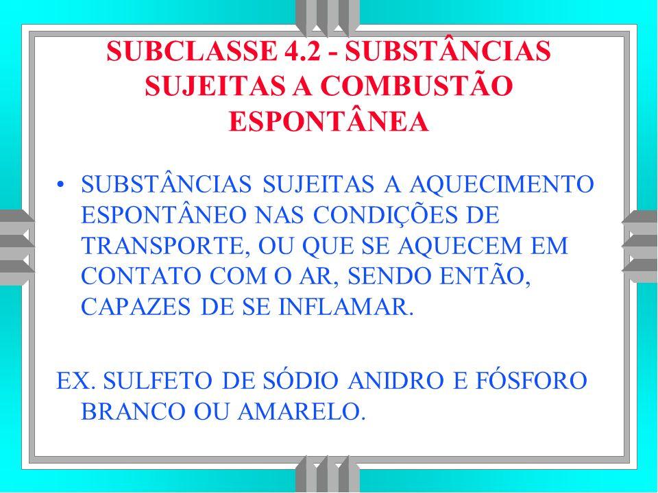 SUBCLASSE 4.2 - SUBSTÂNCIAS SUJEITAS A COMBUSTÃO ESPONTÂNEA