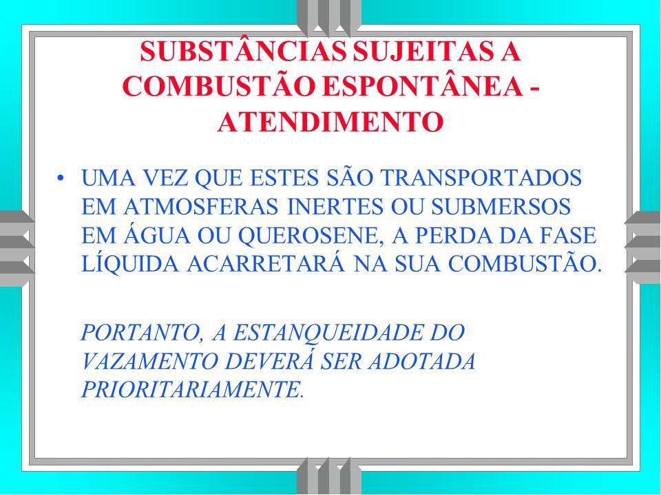 SUBSTÂNCIAS SUJEITAS A COMBUSTÃO ESPONTÂNEA - ATENDIMENTO