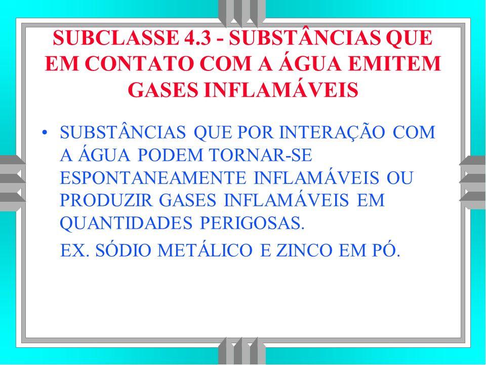 SUBCLASSE 4.3 - SUBSTÂNCIAS QUE EM CONTATO COM A ÁGUA EMITEM GASES INFLAMÁVEIS