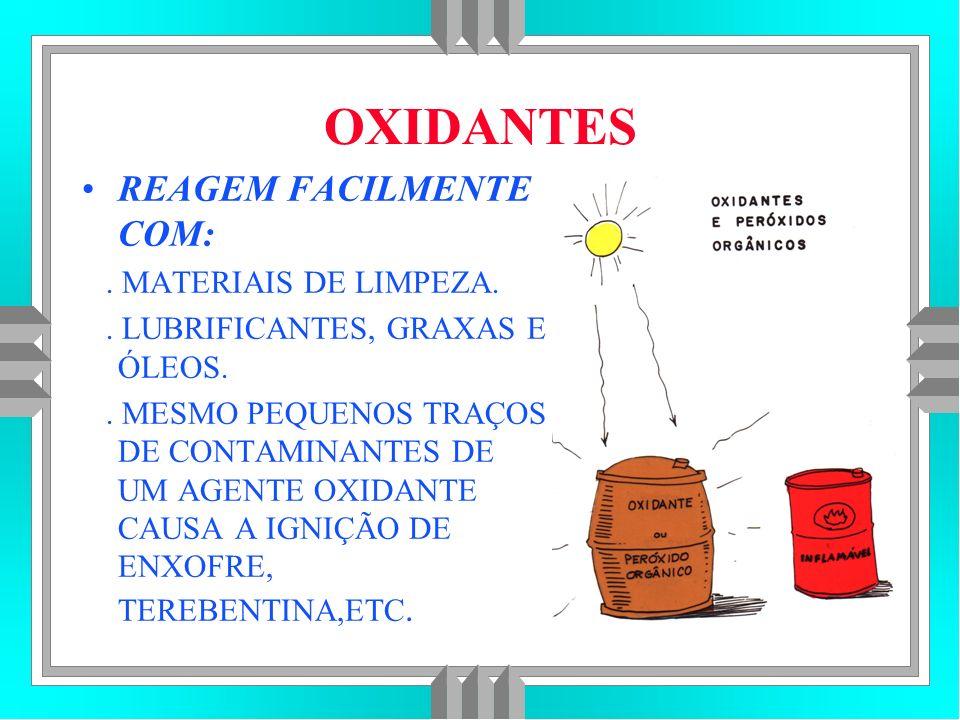 OXIDANTES REAGEM FACILMENTE COM: . MATERIAIS DE LIMPEZA.