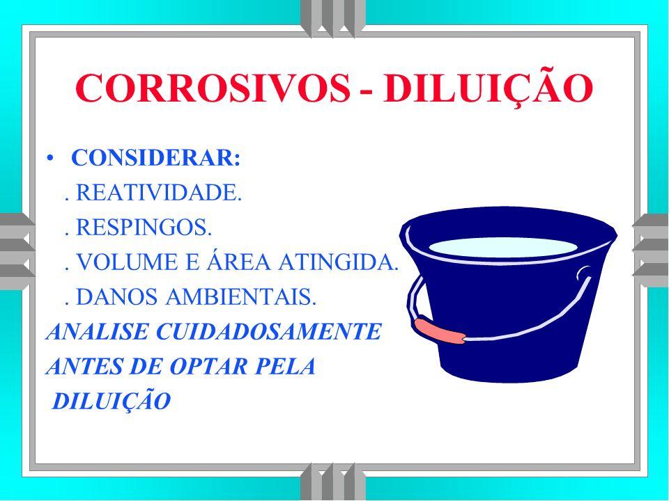 CORROSIVOS - DILUIÇÃO CONSIDERAR: . REATIVIDADE. . RESPINGOS.