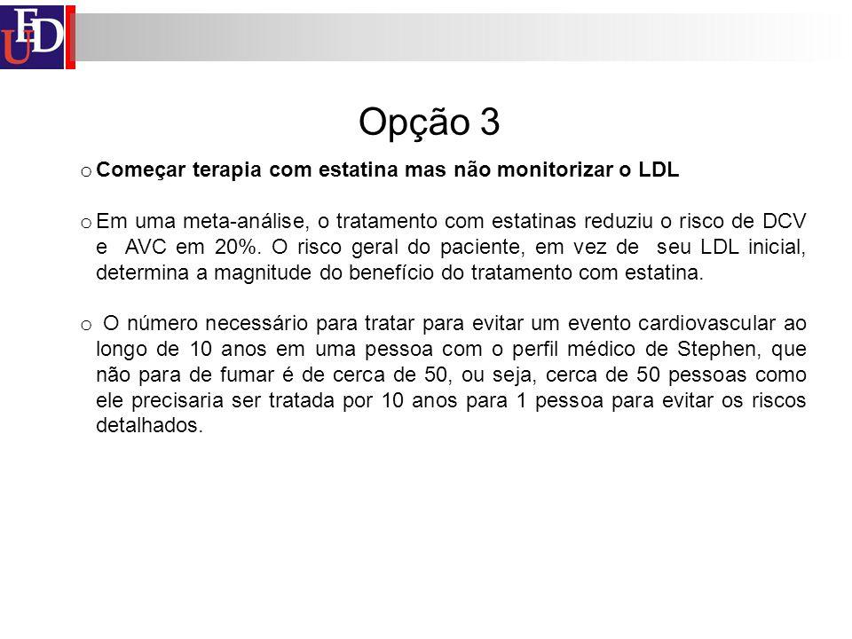Opção 3 Começar terapia com estatina mas não monitorizar o LDL