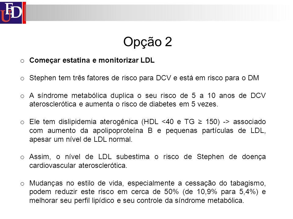 Opção 2 Começar estatina e monitorizar LDL