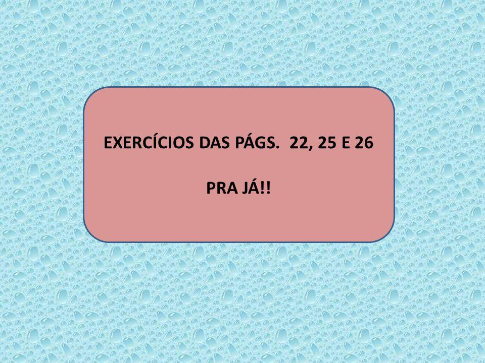 EXERCÍCIOS DAS PÁGS. 22, 25 E 26 PRA JÁ!!