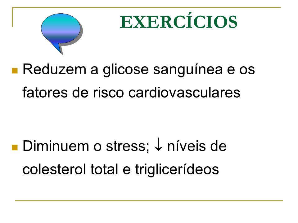 EXERCÍCIOS Reduzem a glicose sanguínea e os fatores de risco cardiovasculares.