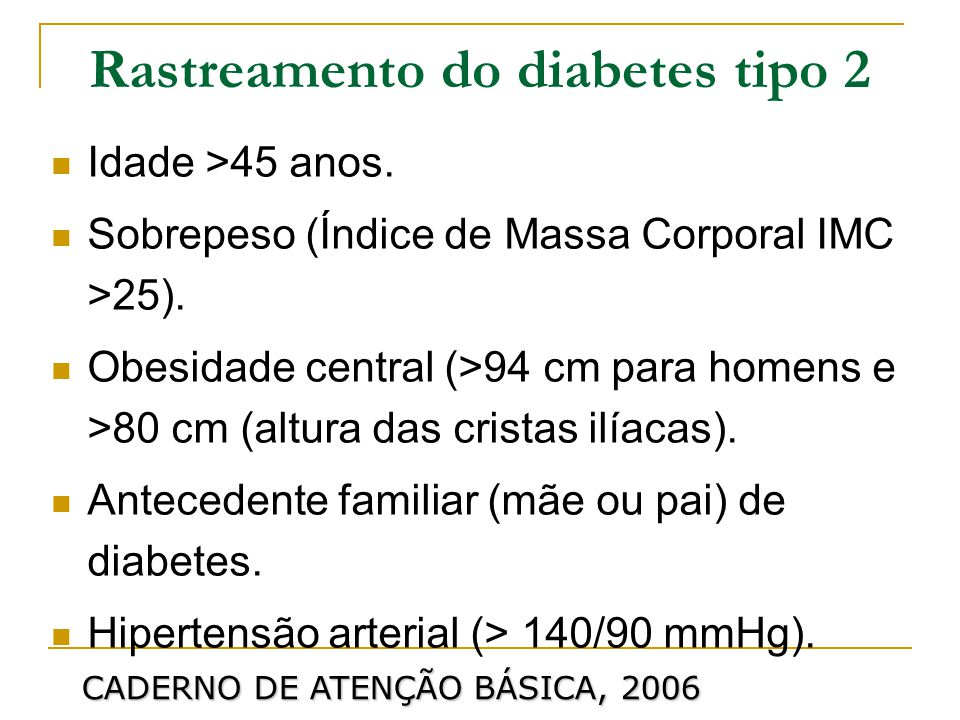 Rastreamento do diabetes tipo 2