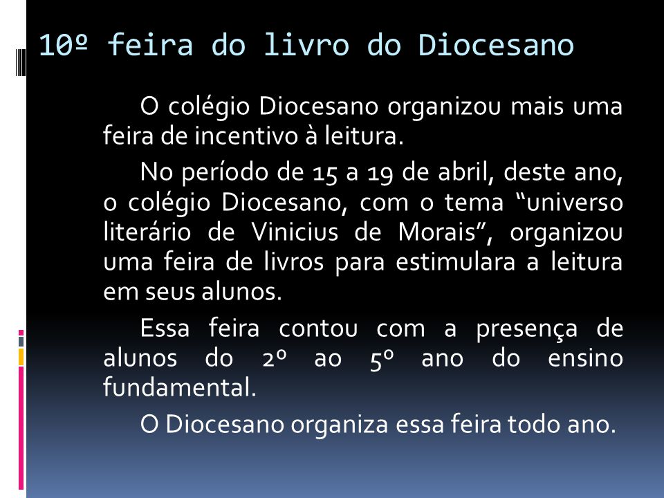 10º feira do livro do Diocesano