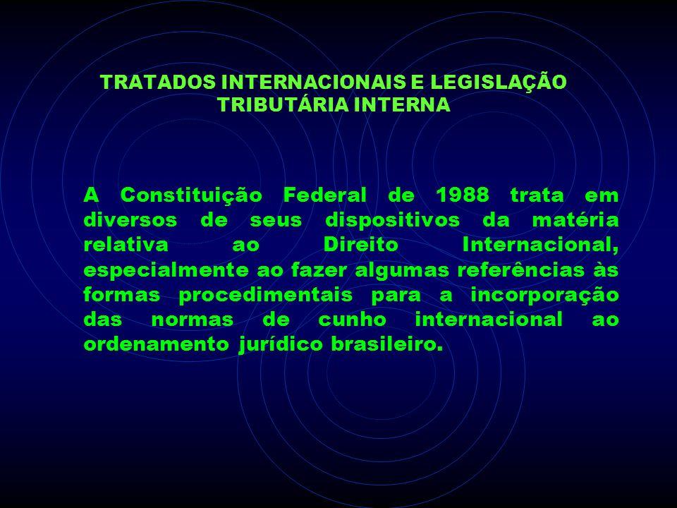 TRATADOS INTERNACIONAIS E LEGISLAÇÃO TRIBUTÁRIA INTERNA