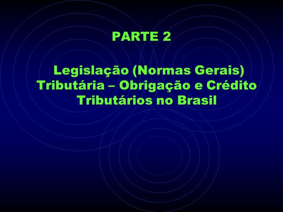 PARTE 2 Legislação (Normas Gerais) Tributária – Obrigação e Crédito Tributários no Brasil