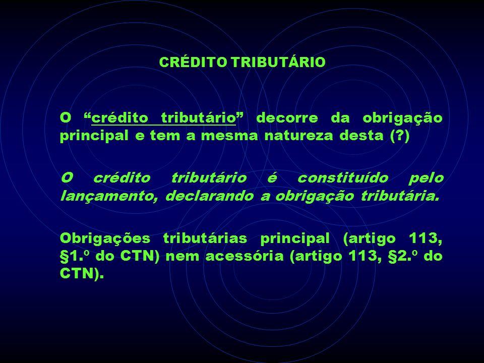 Crédito Tributário O crédito tributário decorre da obrigação principal e tem a mesma natureza desta ( )