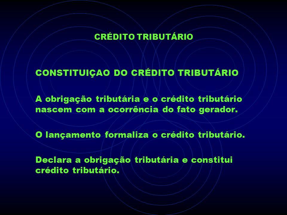 CONSTITUIÇAO DO CRÉDITO TRIBUTÁRIO
