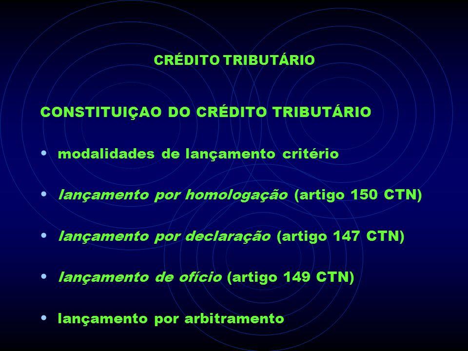 CONSTITUIÇAO DO CRÉDITO TRIBUTÁRIO modalidades de lançamento critério