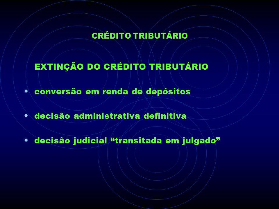 EXTINÇÃO DO CRÉDITO TRIBUTÁRIO conversão em renda de depósitos
