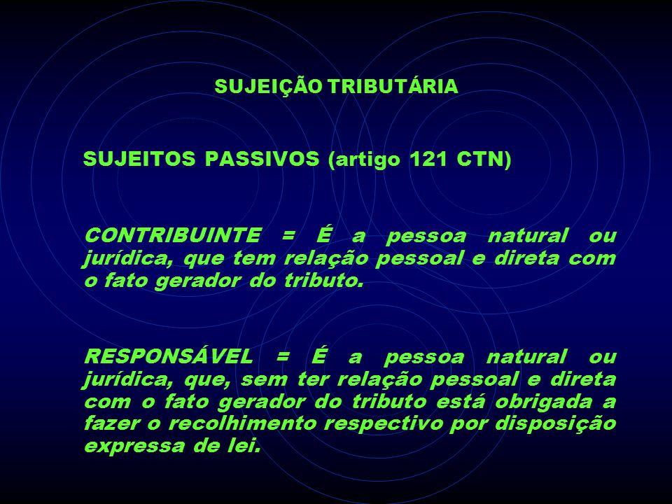 SUJEITOS PASSIVOS (artigo 121 CTN)