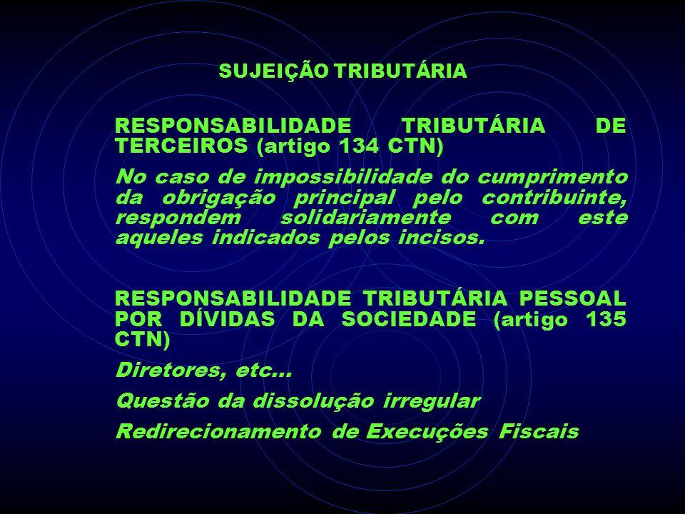 RESPONSABILIDADE TRIBUTÁRIA DE TERCEIROS (artigo 134 CTN)