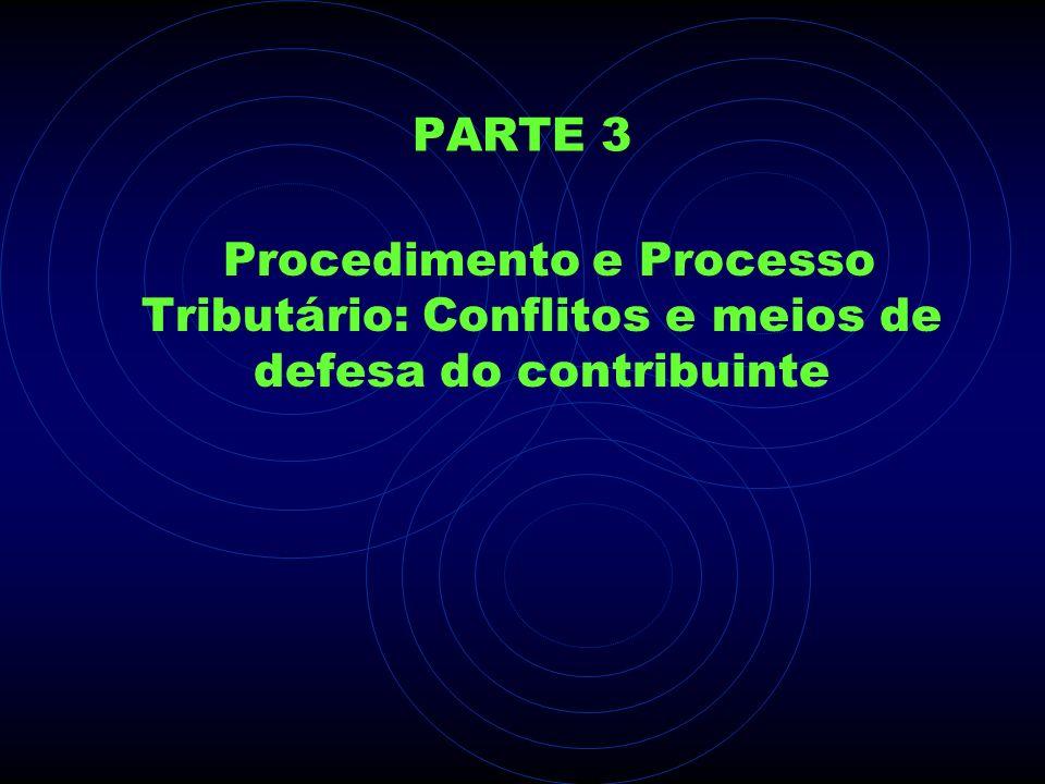 PARTE 3 Procedimento e Processo Tributário: Conflitos e meios de defesa do contribuinte