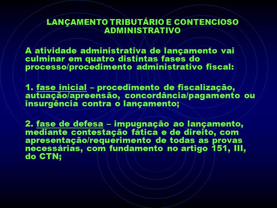 LANÇAMENTO TRIBUTÁRIO E CONTENCIOSO ADMINISTRATIVO