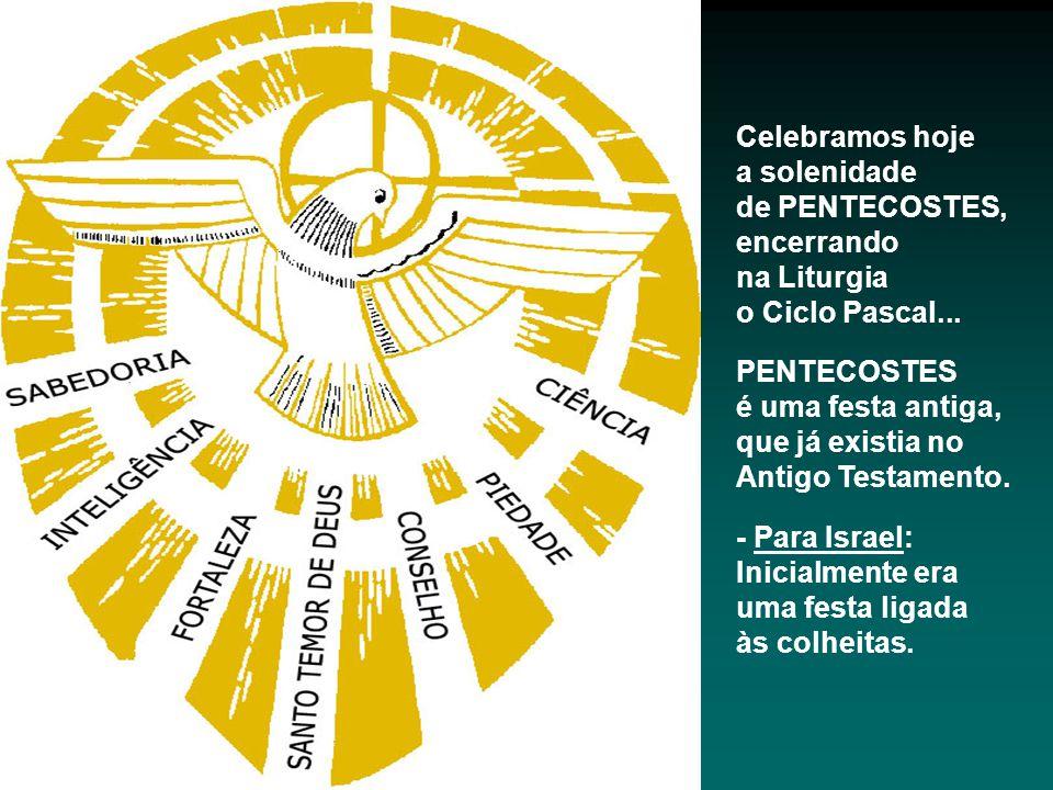 Celebramos hoje a solenidade. de PENTECOSTES, encerrando. na Liturgia. o Ciclo Pascal... PENTECOSTES.