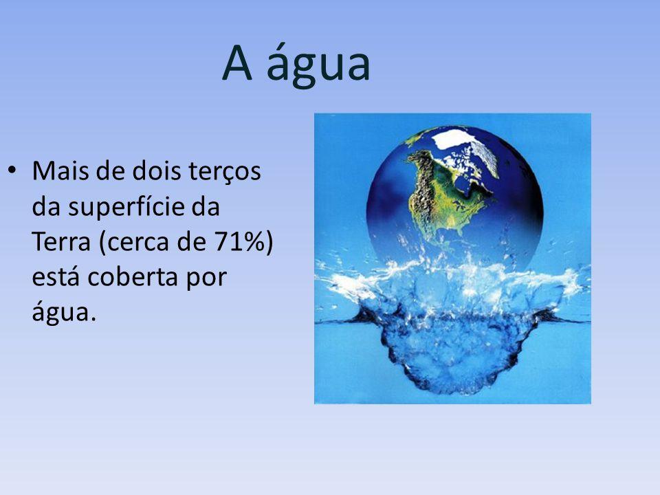 A água Mais de dois terços da superfície da Terra (cerca de 71%) está coberta por água.