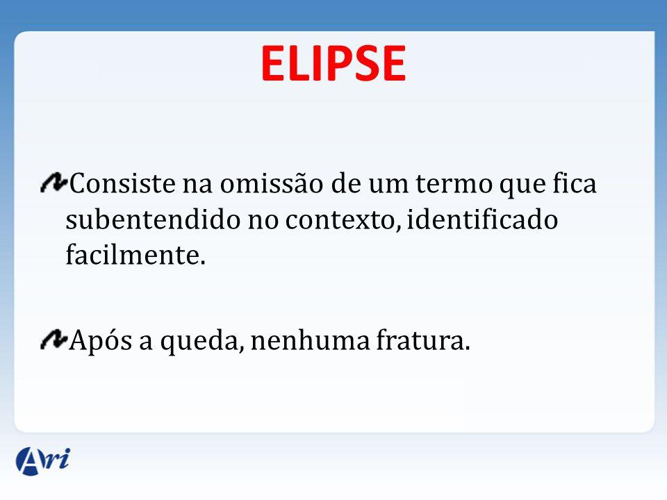 ELIPSE Consiste na omissão de um termo que fica subentendido no contexto, identificado facilmente.