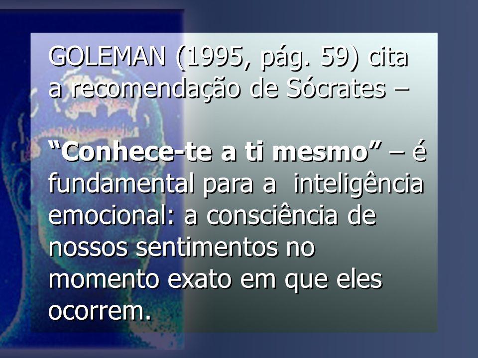GOLEMAN (1995, pág. 59) cita a recomendação de Sócrates –