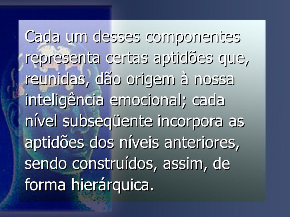 Cada um desses componentes representa certas aptidões que, reunidas, dão origem à nossa inteligência emocional; cada nível subseqüente incorpora as aptidões dos níveis anteriores, sendo construídos, assim, de forma hierárquica.