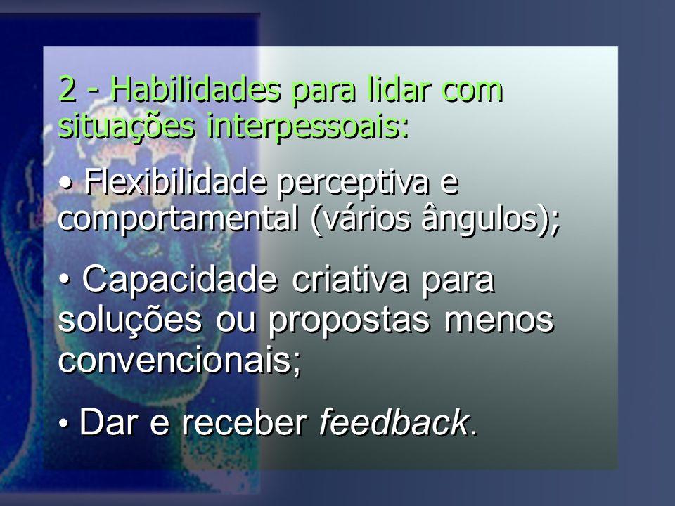 Capacidade criativa para soluções ou propostas menos convencionais;