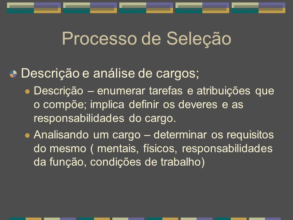 Processo de Seleção Descrição e análise de cargos;