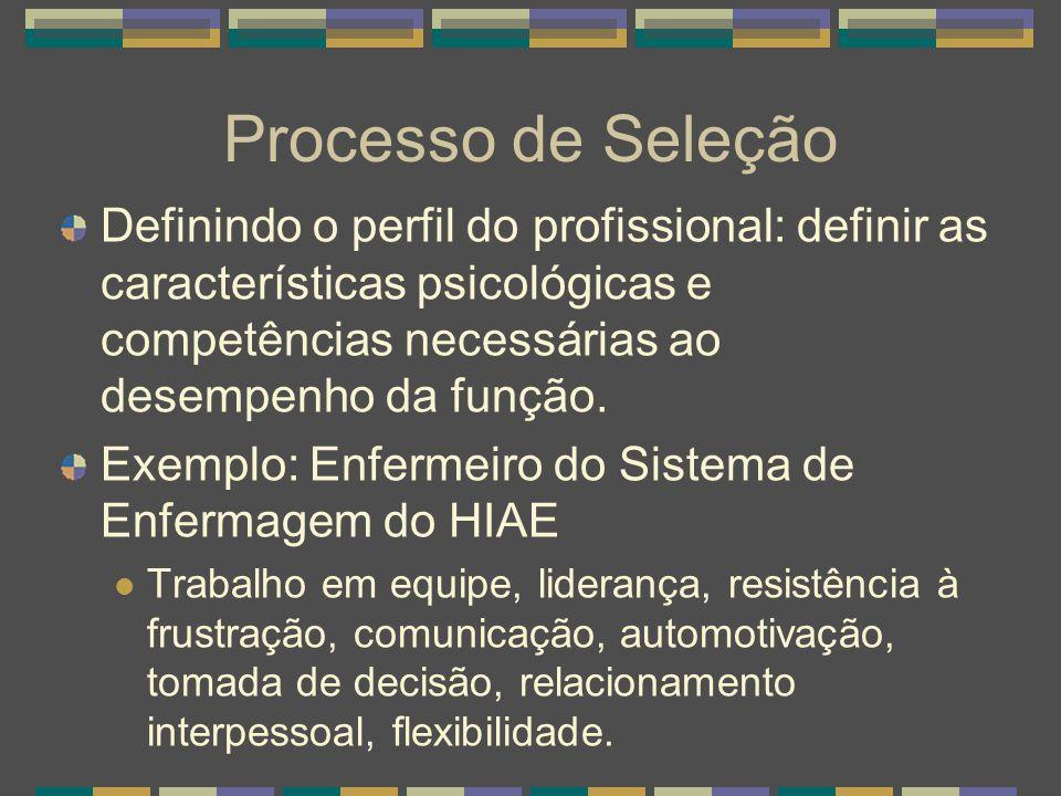 Processo de Seleção Definindo o perfil do profissional: definir as características psicológicas e competências necessárias ao desempenho da função.