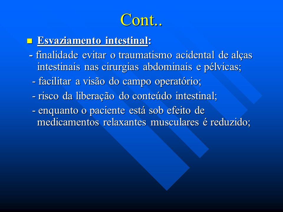Cont.. Esvaziamento intestinal: